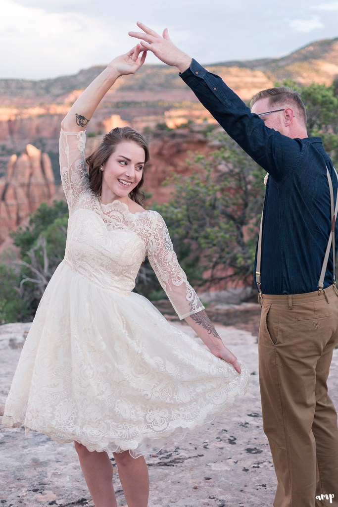 Bride and groom's first dance after they eloped