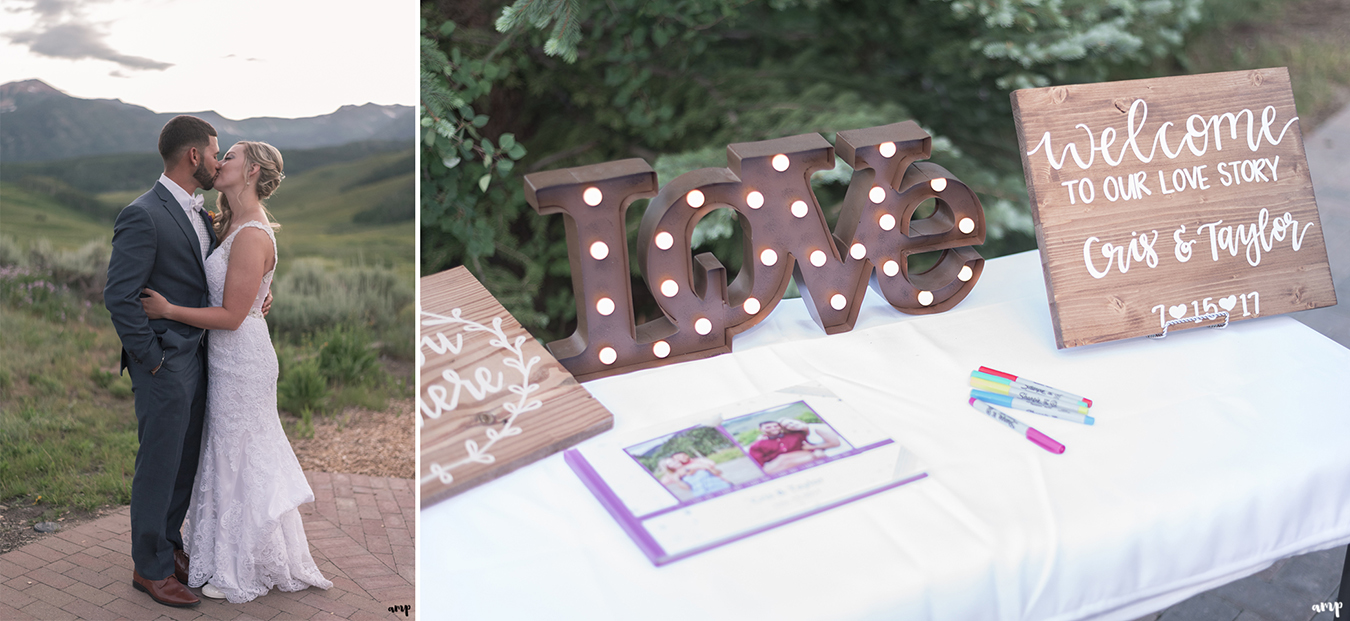 The welcome table at the Mountain Wedding Garden in Crested Butte