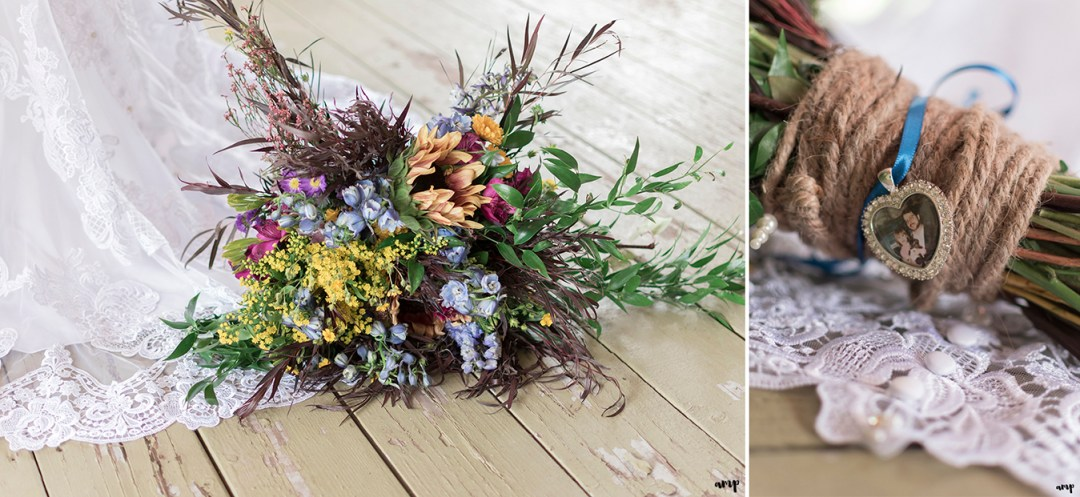 Cascading wildflower bouquet with father pendant