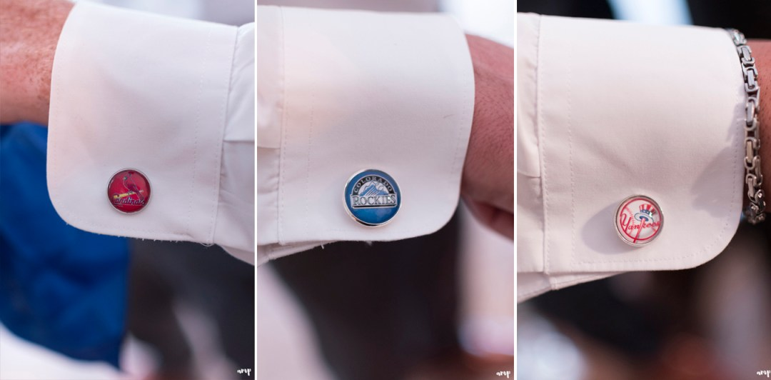 Groomsmen's baseball themed cuff links