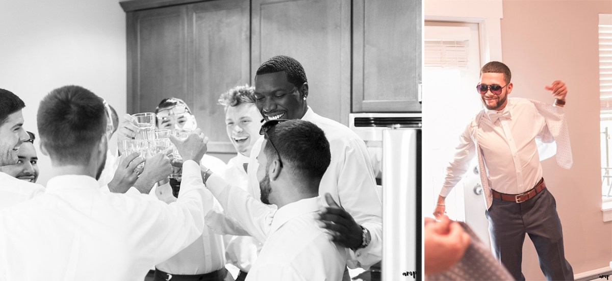 Groomsmen offer the groom a toast while getting ready