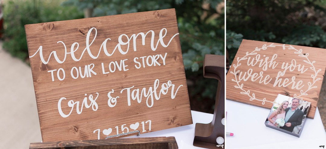 Welcome table at the Crested Butte Mountain Wedding Garden