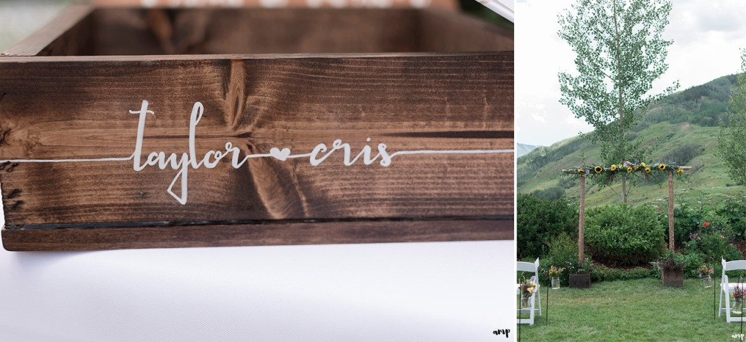 Custom card box and Crested Butte Mountain Wedding Garden layout