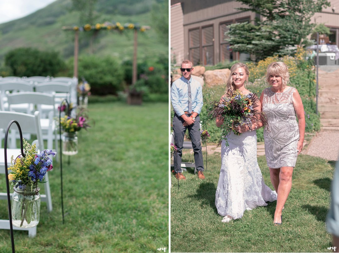 Bride walking down the aisle at the Crested Butte Mountain Wedding Garden