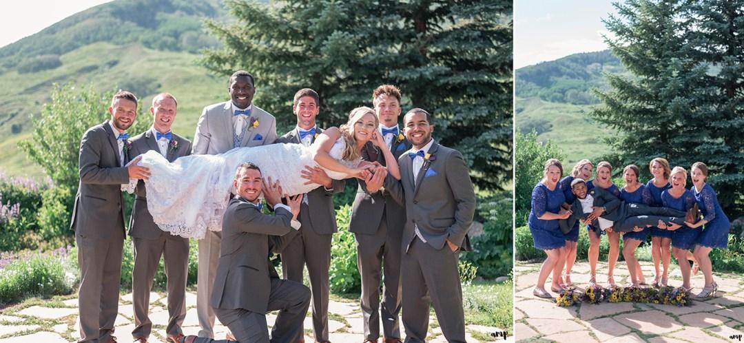 Bridal party having fun in the garden