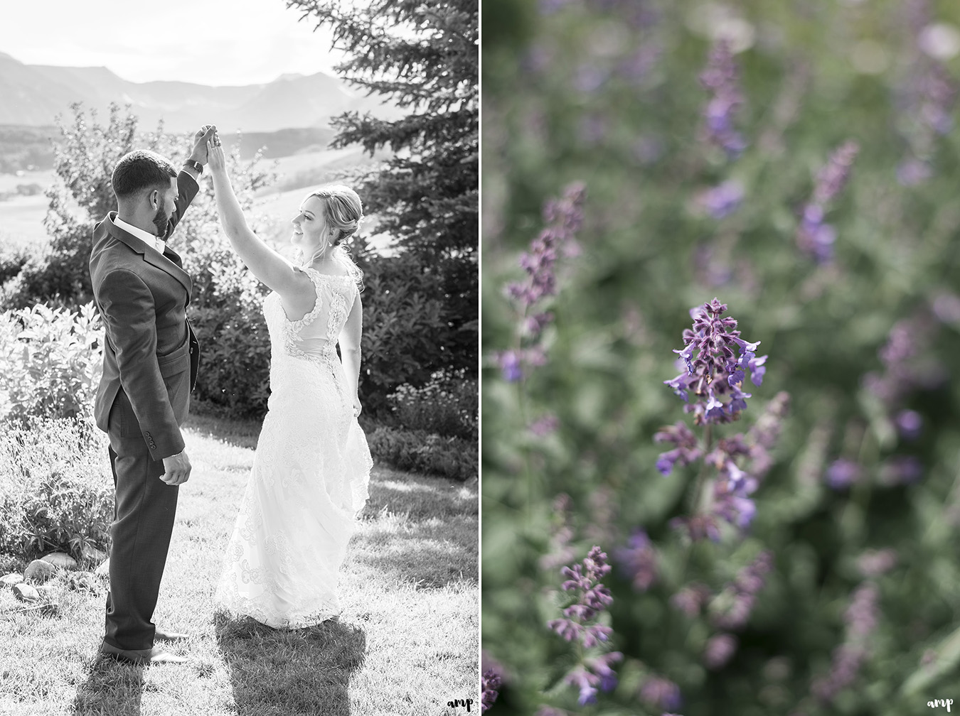 Bride and Groom dance in the Crested Butte Mountain Wedding Garden among the wildflowers