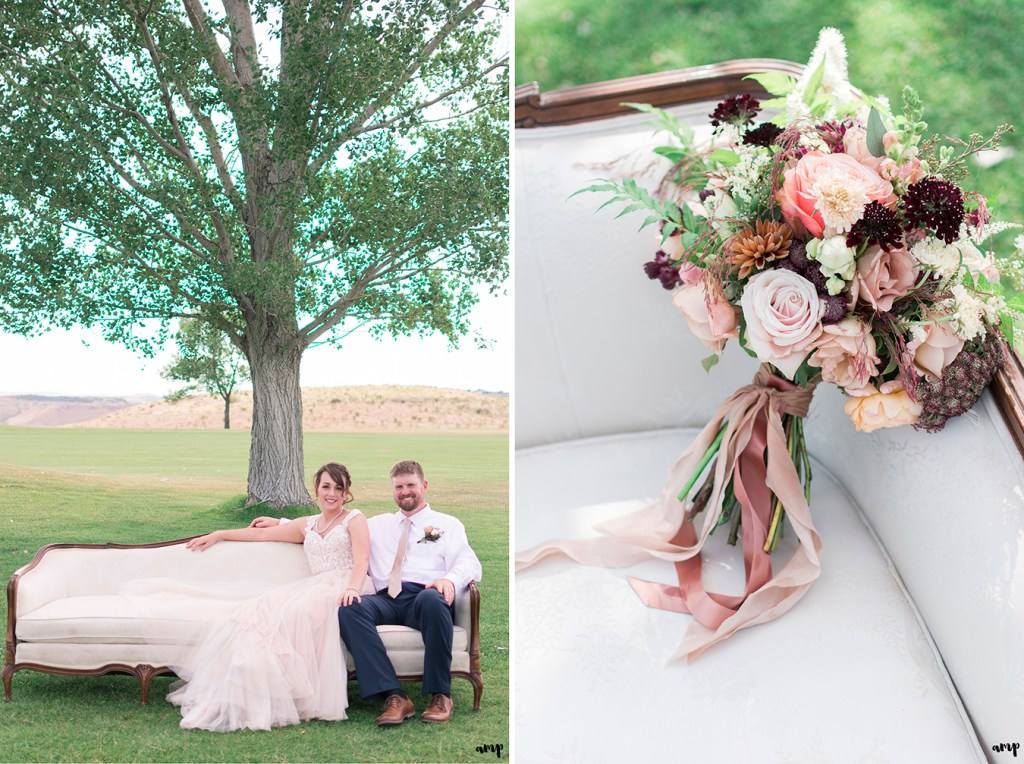 Whimsical vintage flower bouquet and bride and groom on vintage sofa