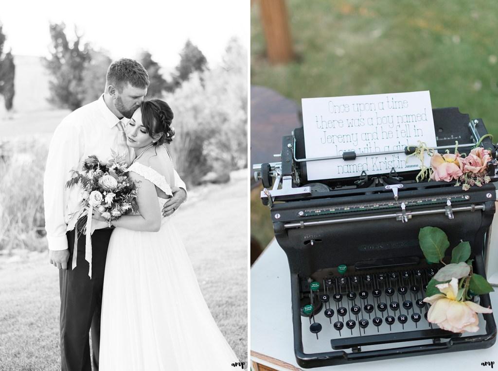 Vintage type writer used in wedding