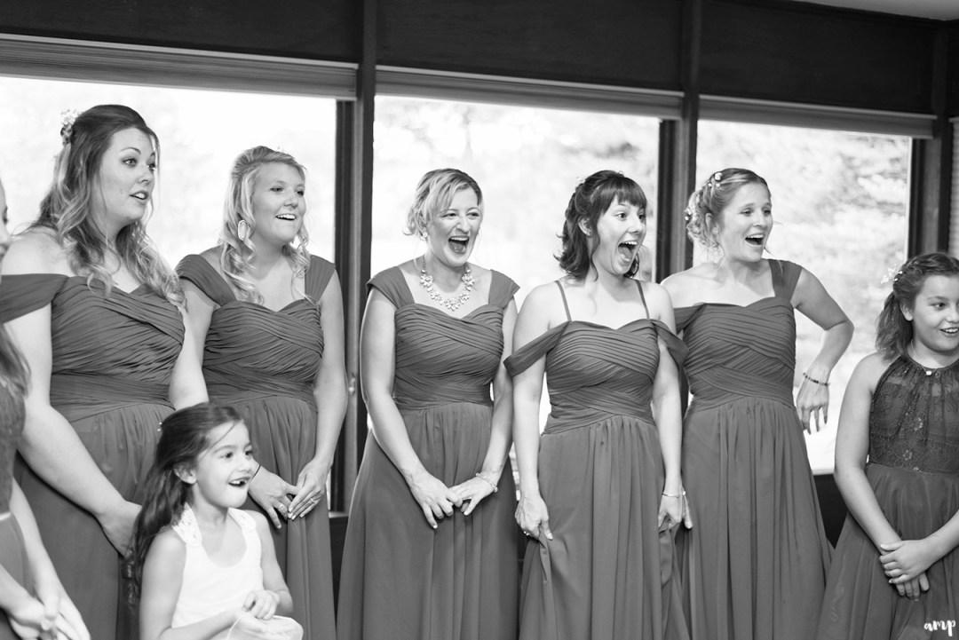 Bridesmaids reaction to seeing bride