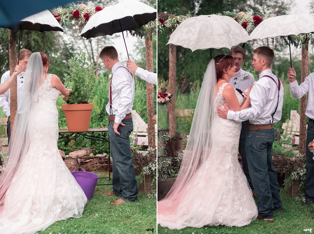 Bride and groom do a tree planting ceremony
