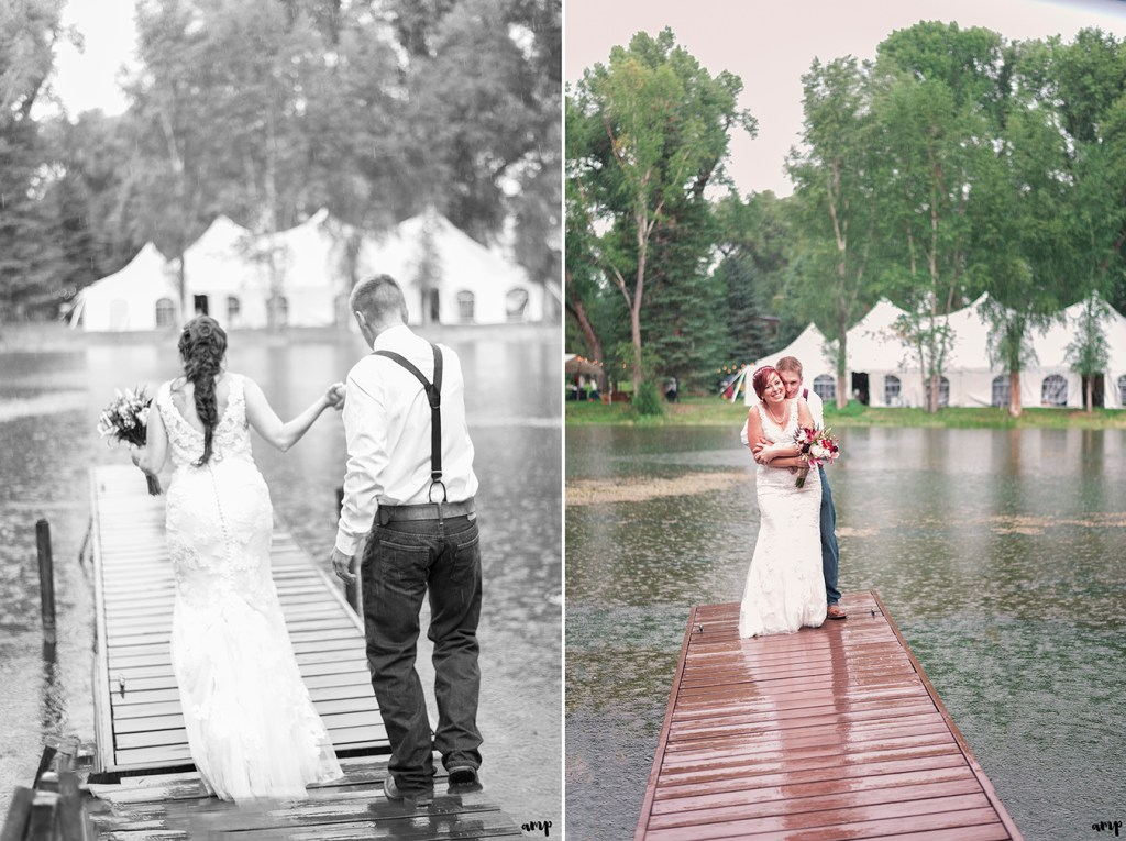 Bride and groom on the pond along Ohio Creek