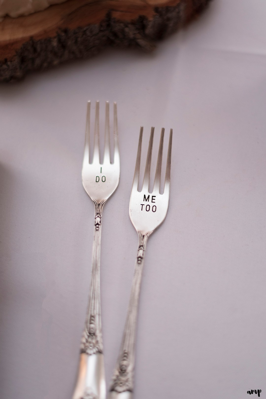 """Forks inscribed with """"I do"""" and """"Me too"""""""