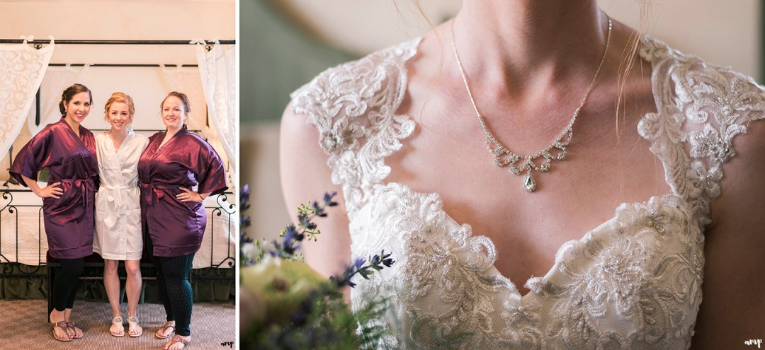 Bridal necklace and bridesmaids getting ready