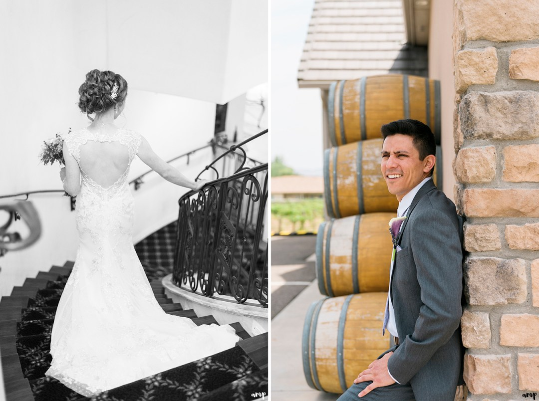Bride and groom portraits at Two Rivers Winery in Grand Junction