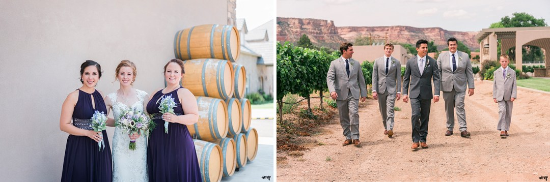 Bridal party photos at Two Rivers Winery