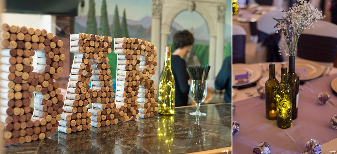 Bar sign made from wine corks and Table numbers on wine bottles