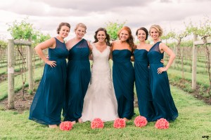 Bridesmaids dresses in navy with varying styles