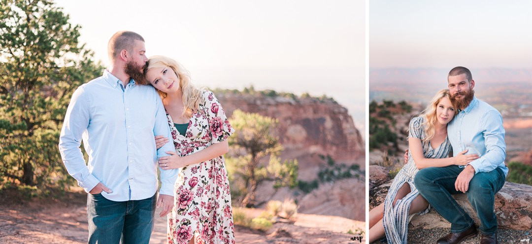 Engaged couple cuddling for their engagement session on the Colorado National Monument