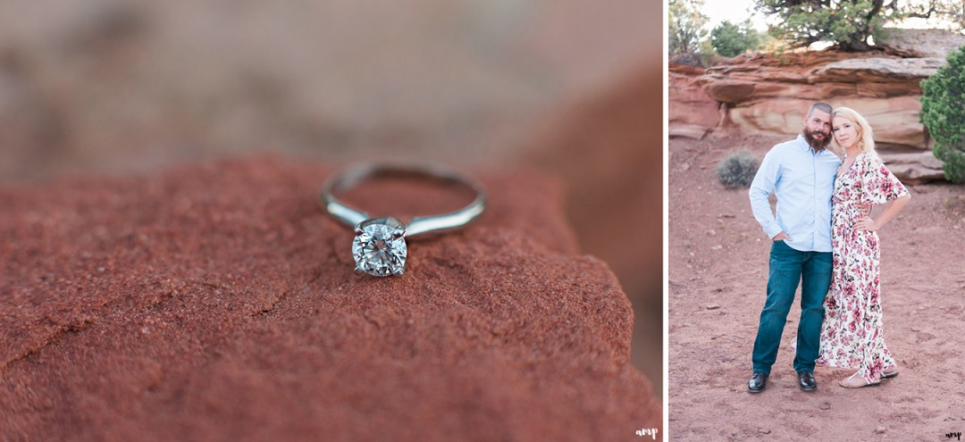 Engagement Ring on the red rocks of the Monument