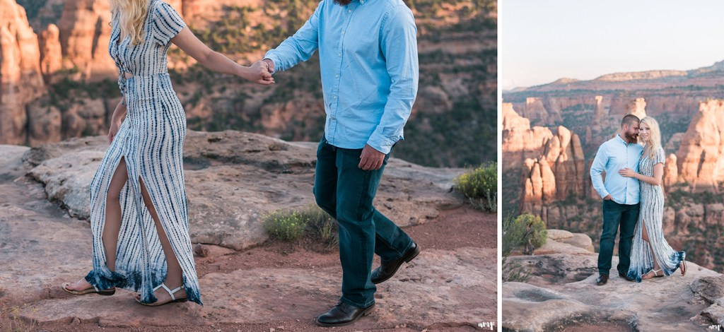 Adventure couple hiking for their engagement session on the Colorado National Monument