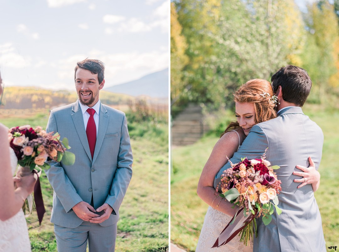 Bride and groom's first look | Fall Wedding in Crested Butte at the Mountain Wedding Garden | amanda.matilda.photography