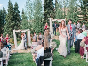 First kiss and bride and groom's exit at the wedding ceremony in the Mountain Wedding Garden