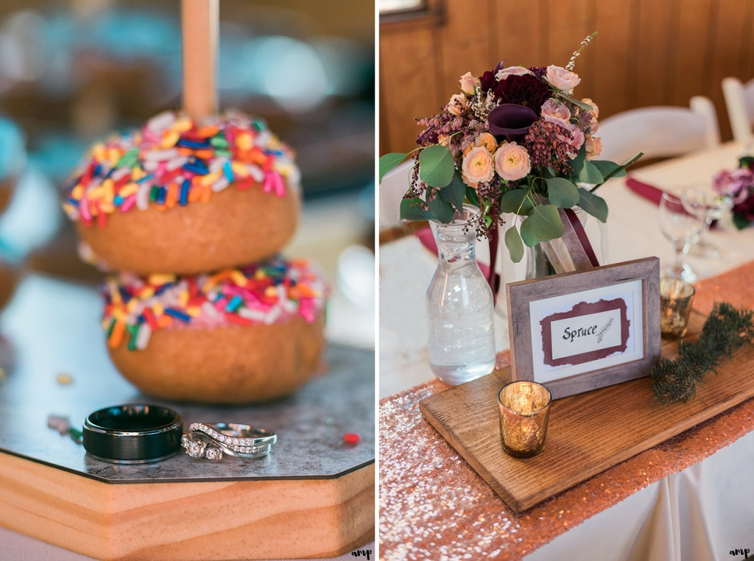 Donut bar ring shot and head table detail photo