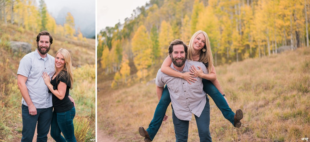 Autumn engagement photos with the yellow aspen trees at Piney River Ranch