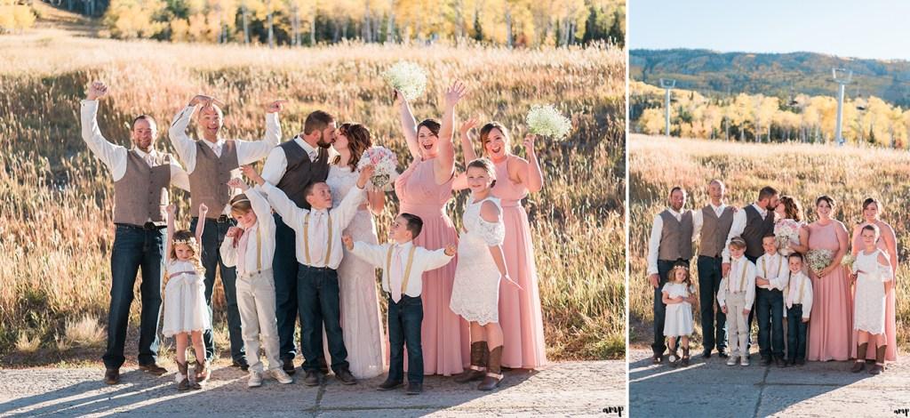 Wedding party fall photos at Powderhorn
