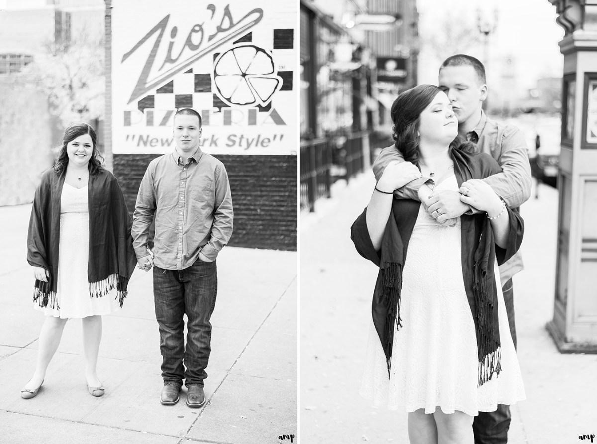 Couple outside Zio's Pizza Old Market Omaha Courthouse Wedding in Omaha | amanda.matilda.photography