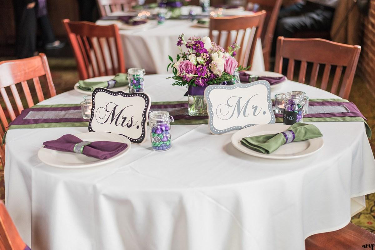 Mr. & Mrs. Table at Upstream Brewery Wedding Omaha