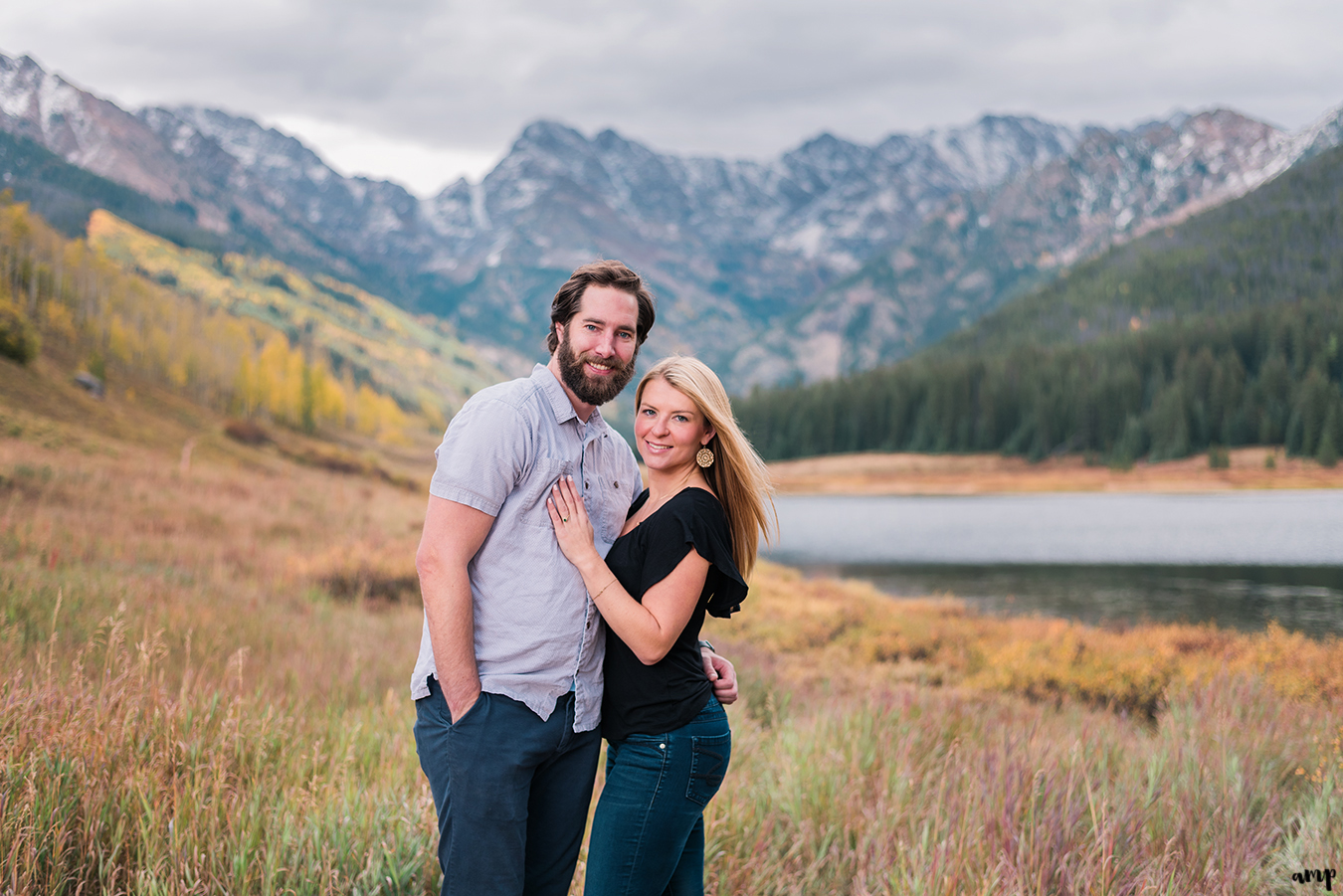 Engagement photo at Piney River Ranch in Vail