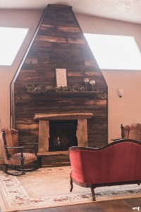 Rustic fireplace at Mountain View Farm | Western Slope Wedding Venues with amanda.matilda.photography
