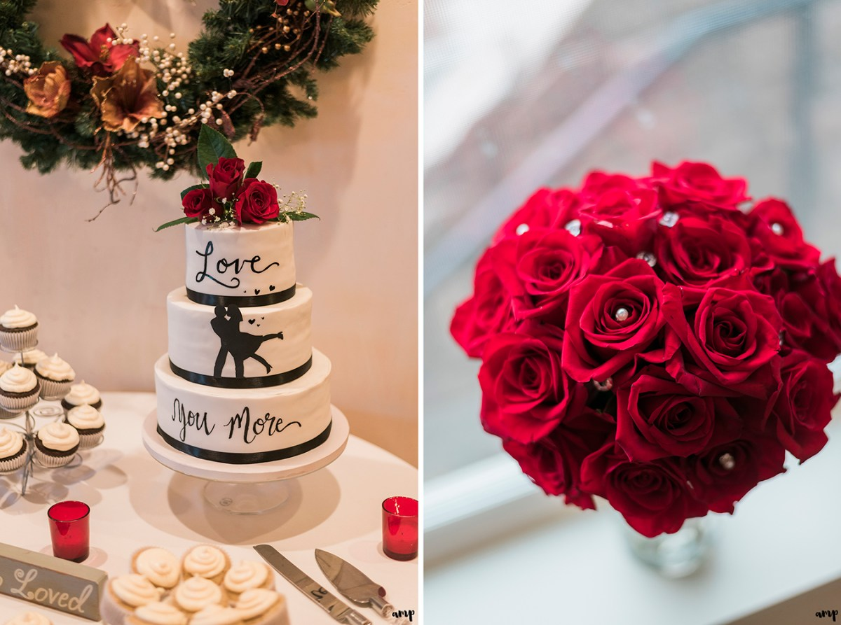 "Silhouette wedding cake saying ""Love You More"" plus bride's red rose bouquet"