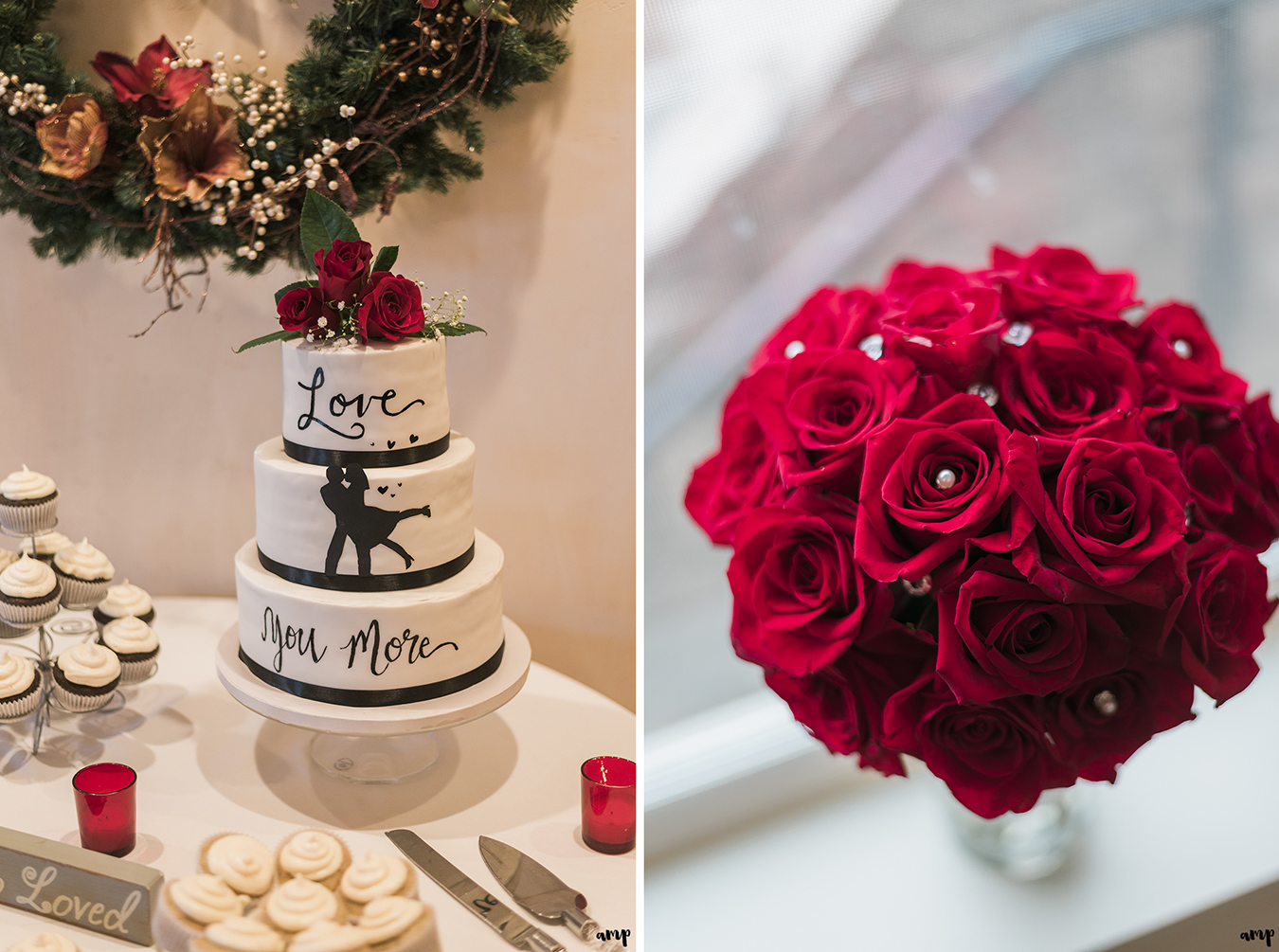 """Silhouette wedding cake saying """"Love You More"""" plus bride's red rose bouquet"""