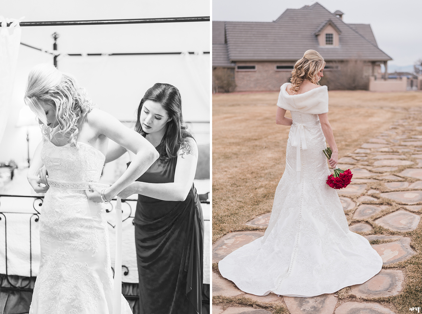 Maid of honor helps bride into dress at Two Rivers Winery