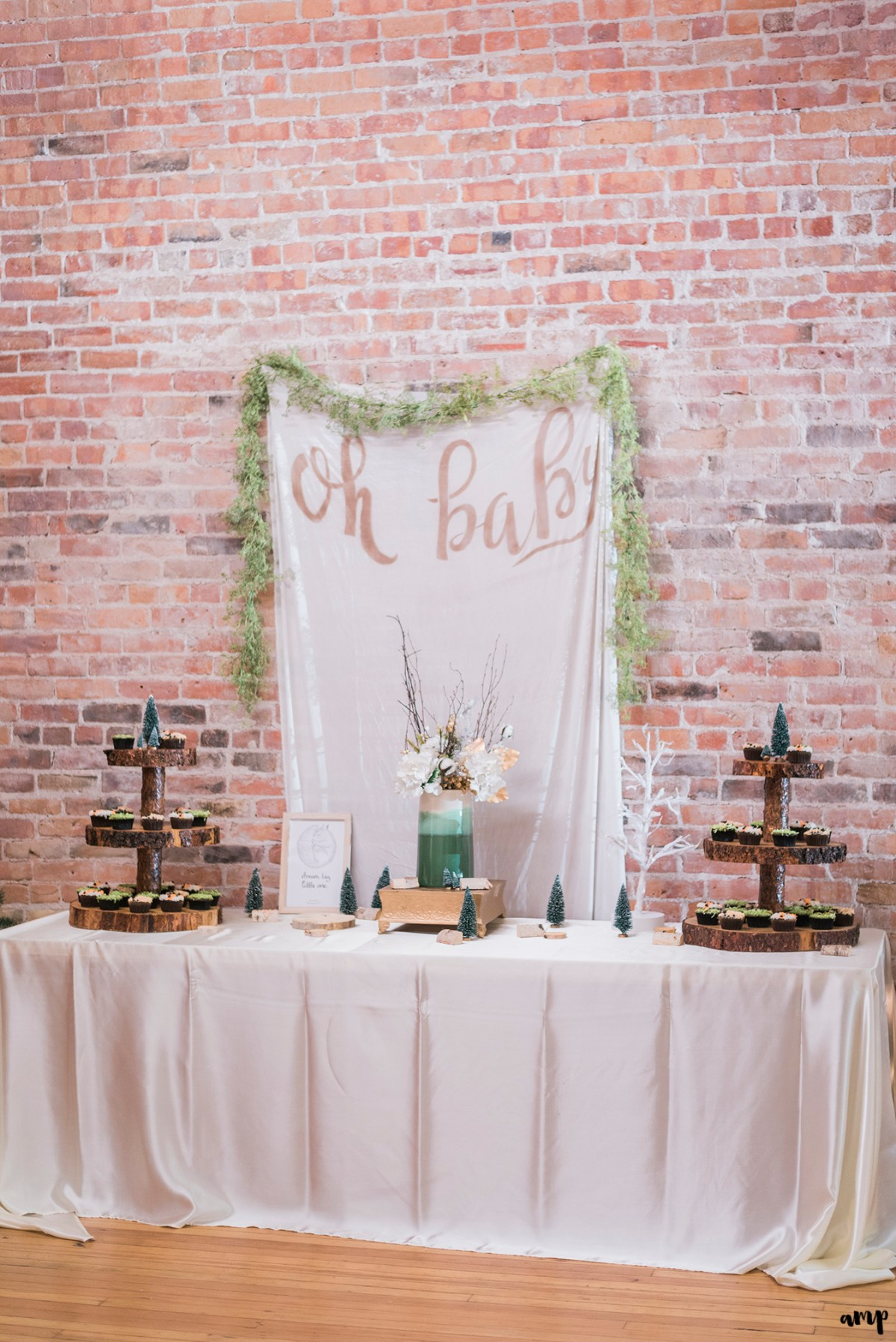 """Oh baby"" banner and dessert table"