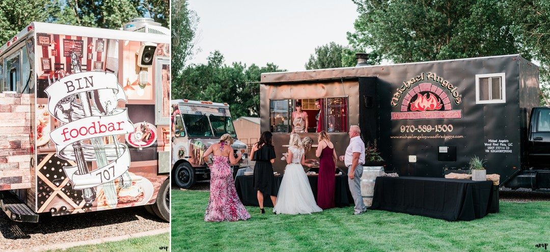 Bin 707 and Michael Angelo Pizza food trucks | Grand Junction Backyard Wedding | amanda.matilda.photography