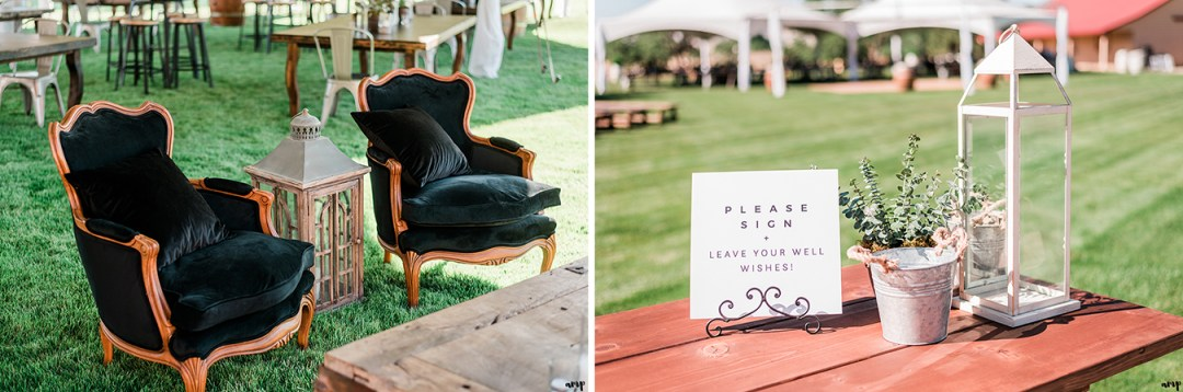 Seating area with arm chairs from Stonewood Vintage | Grand Junction Backyard Wedding | amanda.matilda.photography