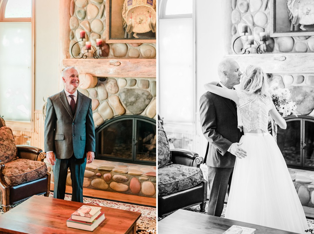 First look with Beth and her Dad | Grand Junction Backyard Wedding | amanda.matilda.photography