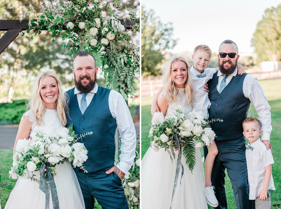 Beth and Dustin with their nephews | Grand Junction Backyard Wedding | amanda.matilda.photography