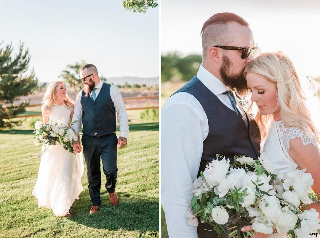 Beth and Dustin walking together in the backyard | Grand Junction Backyard Wedding | amanda.matilda.photography