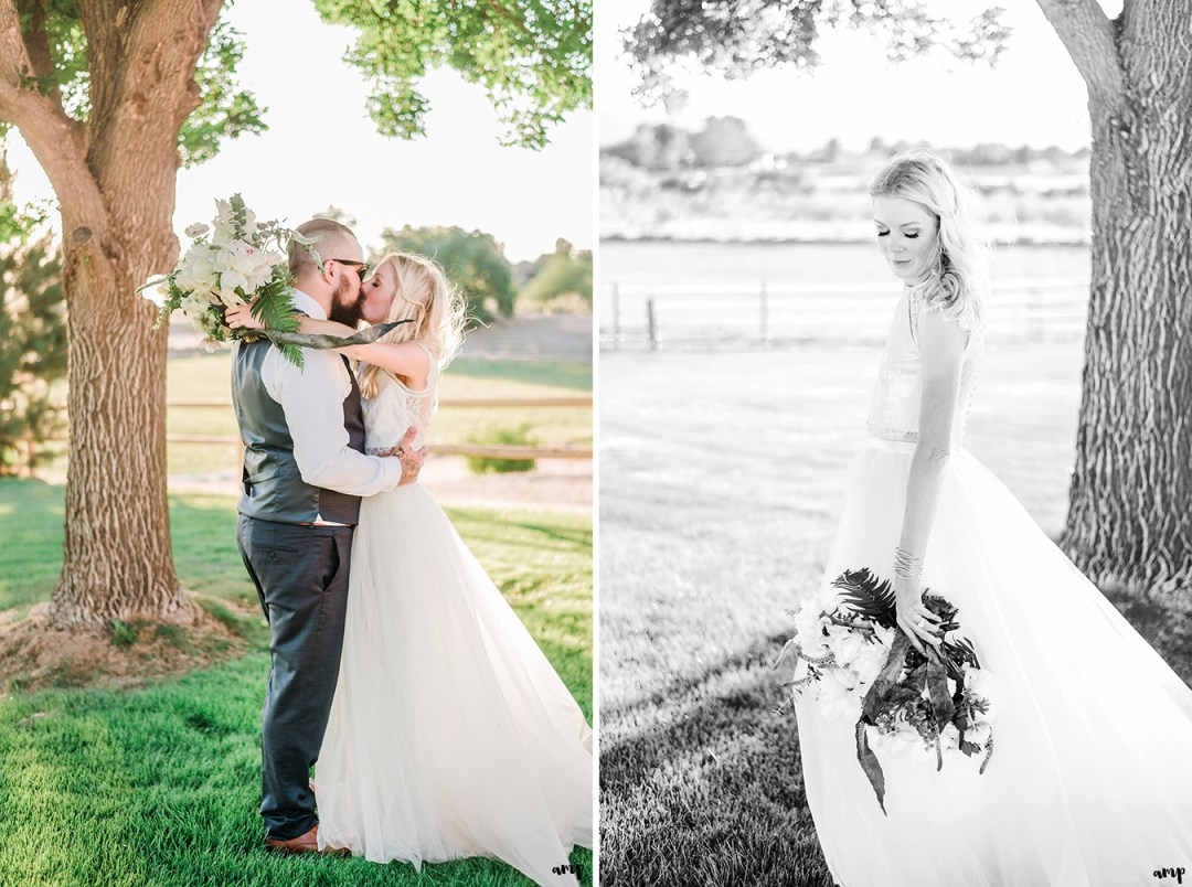 Beth and Dustin kissing under the tree | Grand Junction Backyard Wedding | amanda.matilda.photography