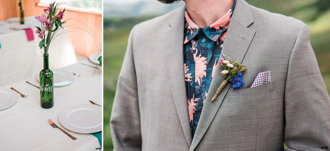 Dan's patterned shirt and boutonniere