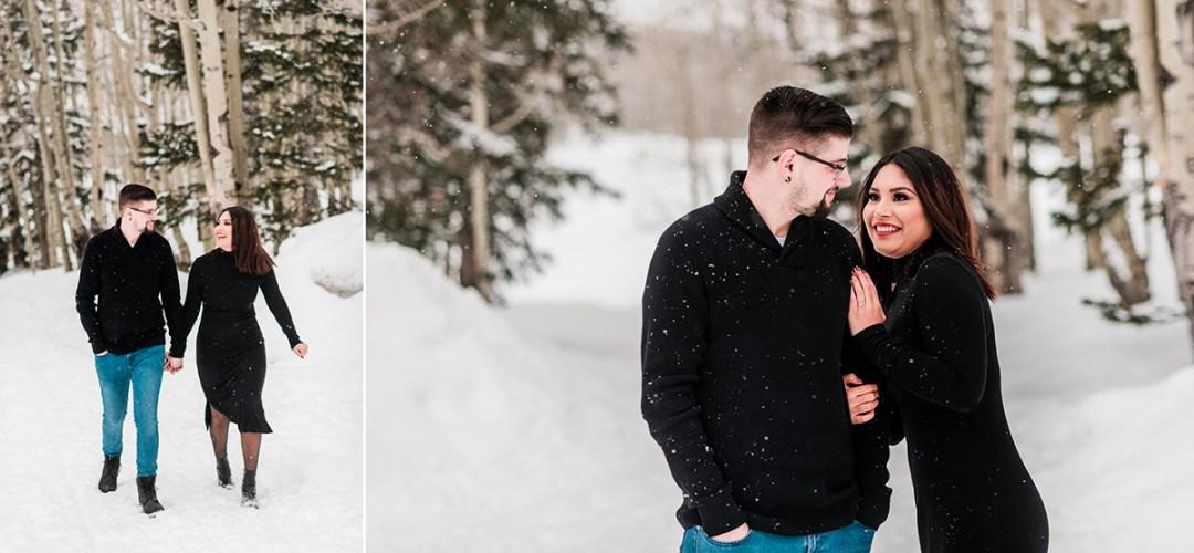 Tina & Tyler   Snowy Engagement Photos on the Mesa