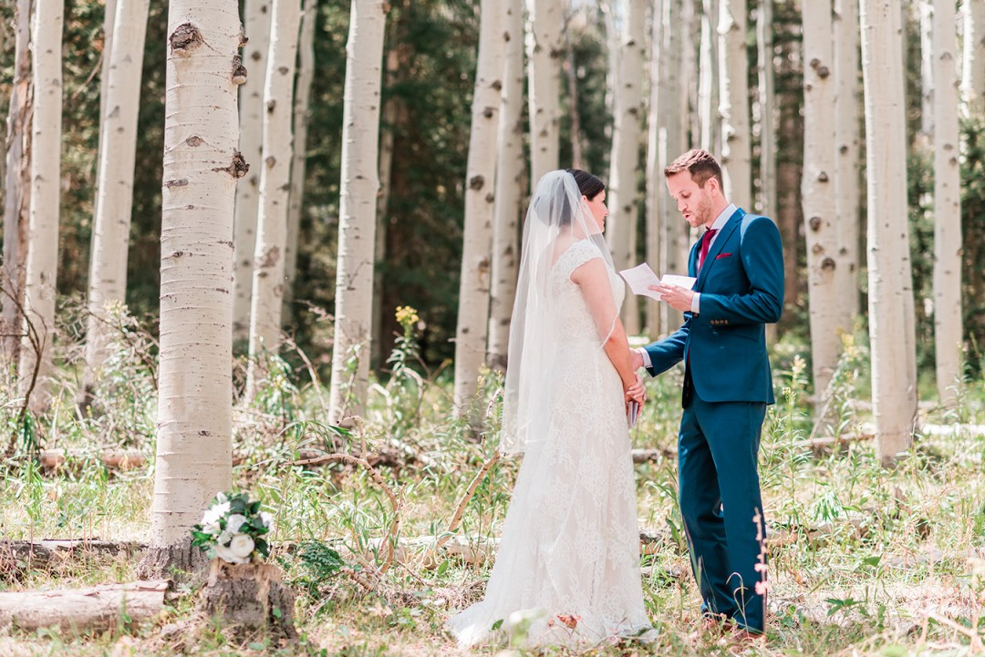 Bride and Groom exchange vows in an aspen grove during their Elopement in Glenwood Springs
