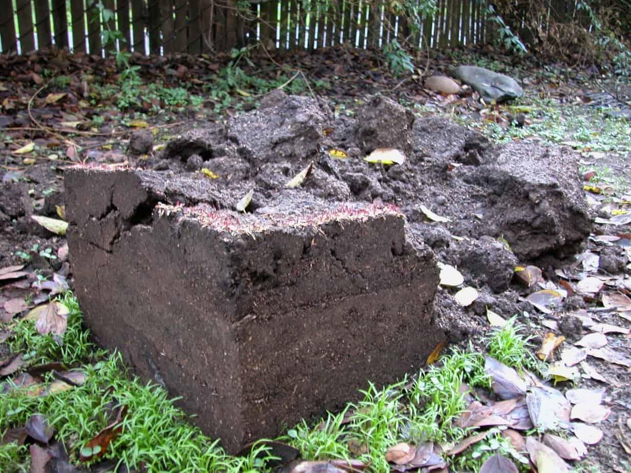 Soil cube and broken soil, taken outside.
