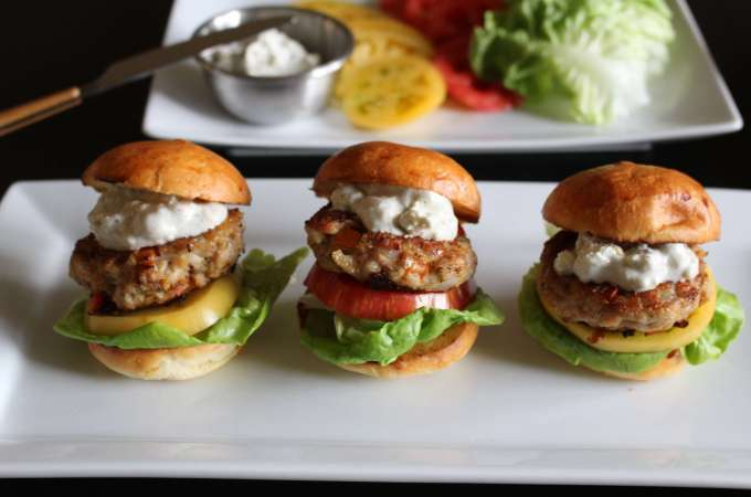 Mini Turkey Burgers and Blue Cheese Sauce