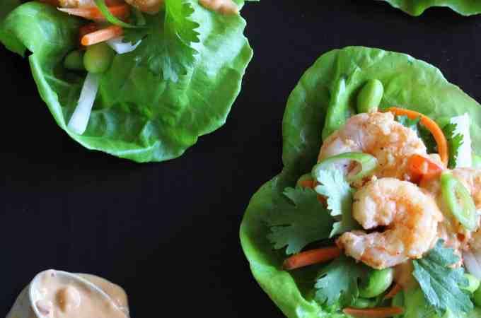 Shrimp Lettuce Wraps with Peanut Sauce