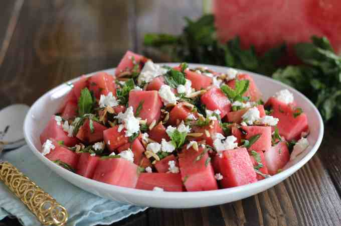Watermelon, Feta, Jalapeno Salad